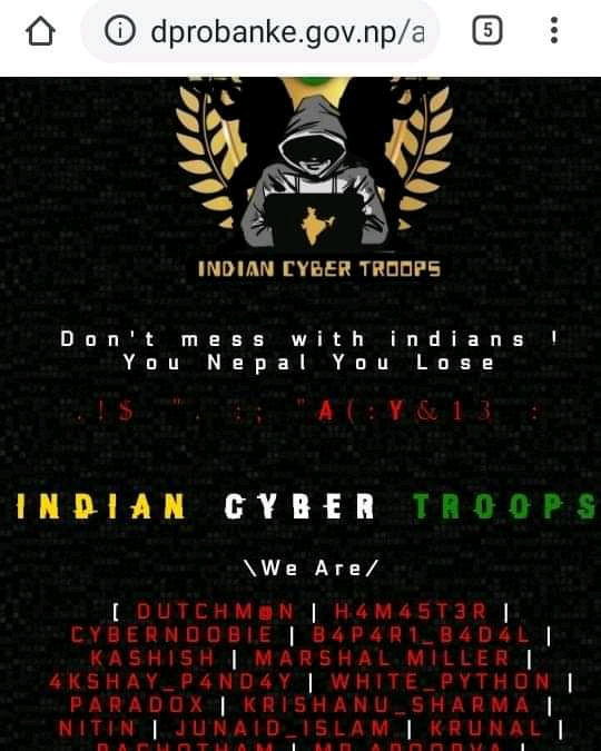 Indian Cyber Troops claiming that they hacked a Nepali site.